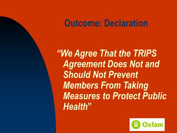 Outcome: Declaration