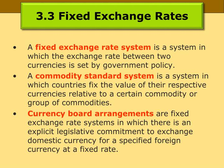3.3 Fixed Exchange Rates