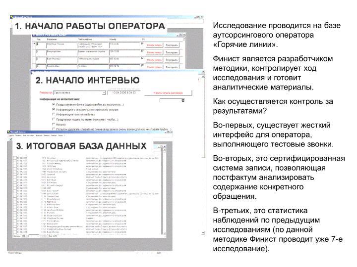 Исследование проводится на базе аутсорсингового оператора «Горячие линии».