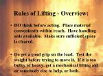 rules of lifting overview1