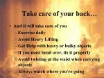 take care of your back