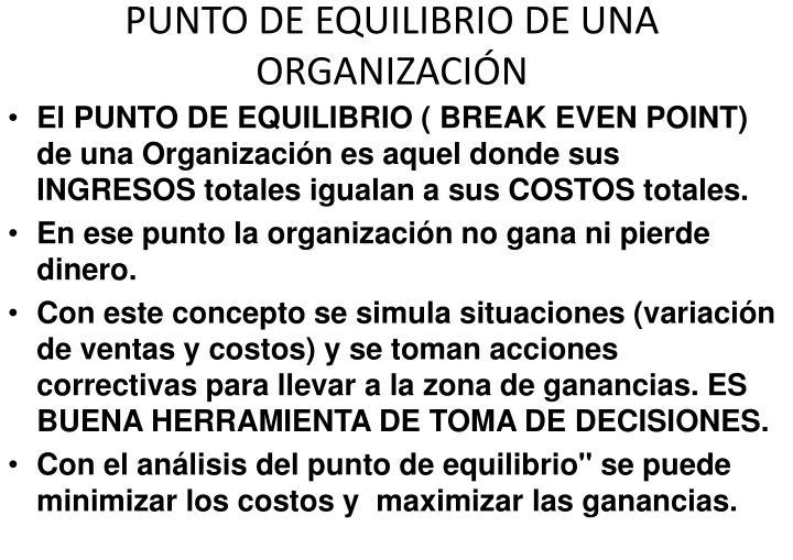 PUNTO DE EQUILIBRIO DE UNA ORGANIZACIN