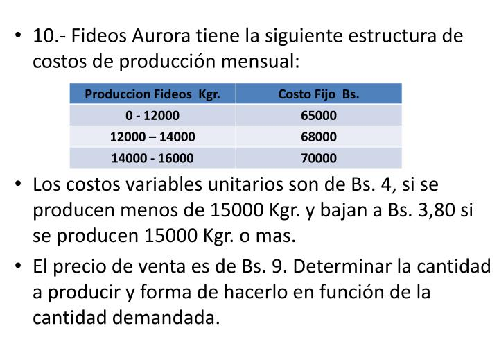 10.- Fideos Aurora tiene la siguiente estructura de costos de produccin mensual: