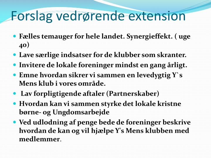 Forslag vedrørende extension