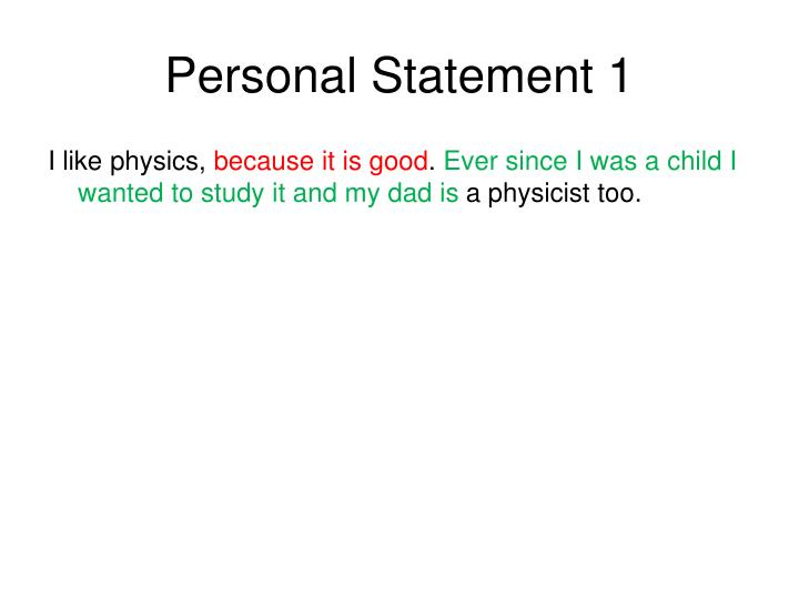 Personal Statement 1