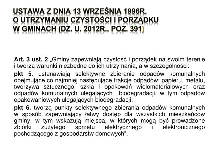 USTAWA z dnia 13 września 1996r.