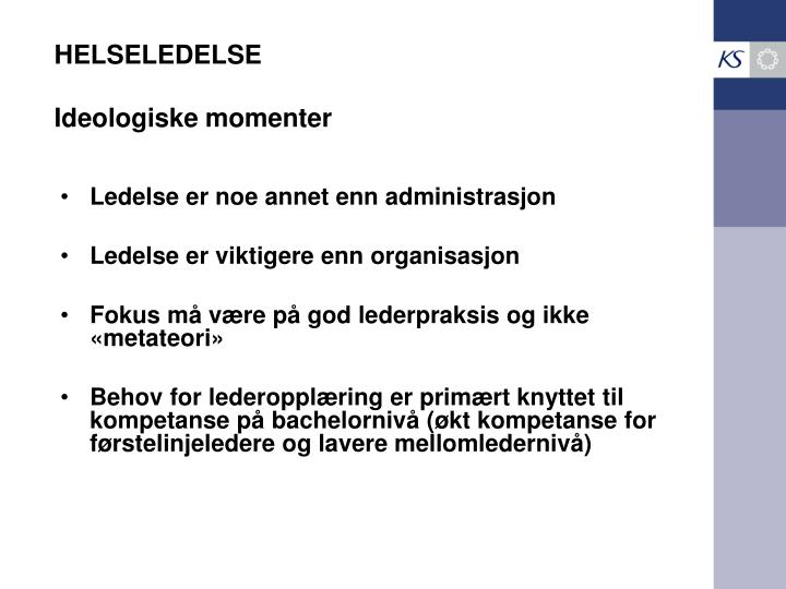HELSELEDELSE