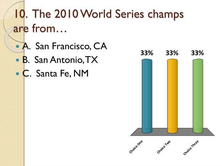 10.  The 2010 World Series champs are from…