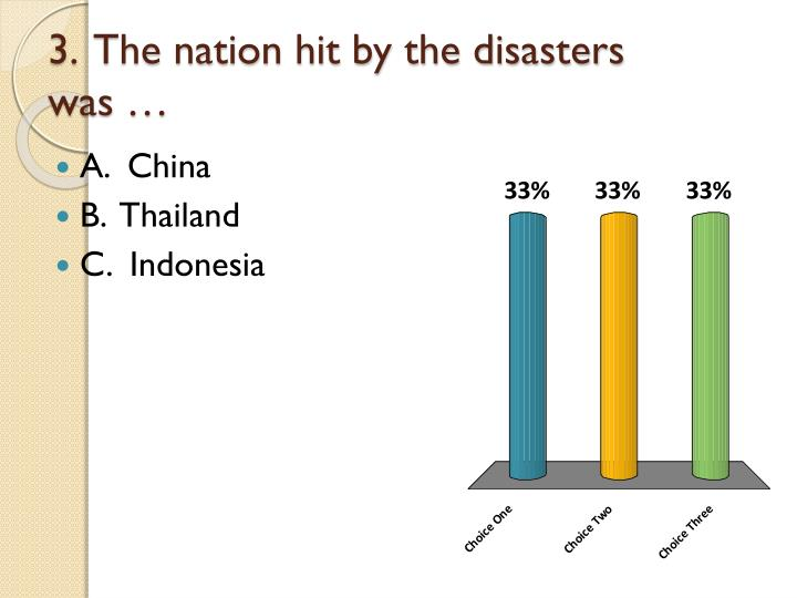 3.  The nation hit by the disasters was …