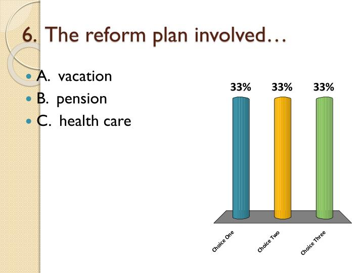 6.  The reform plan involved…