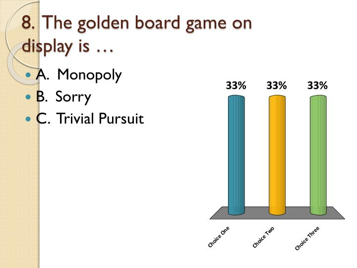 8.  The golden board game on display is …