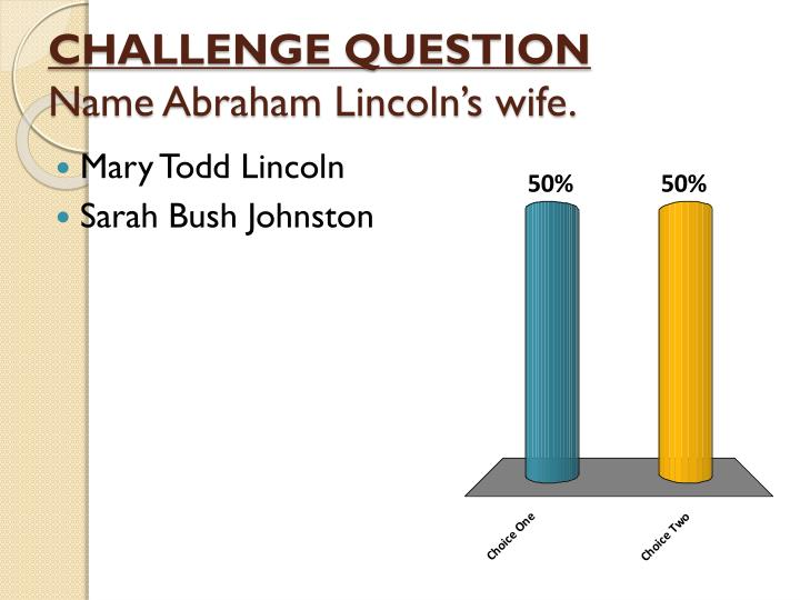 Challenge question name abraham lincoln s wife