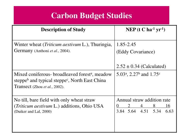Carbon Budget Studies