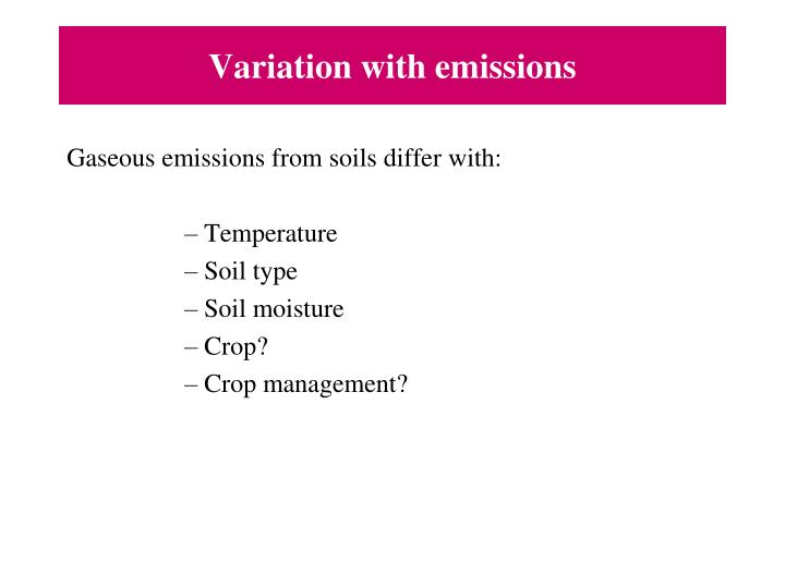 Variation with emissions