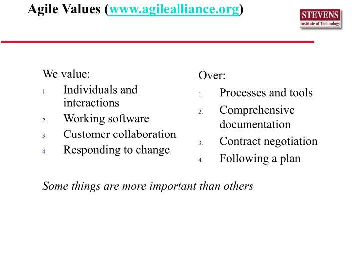 We value: