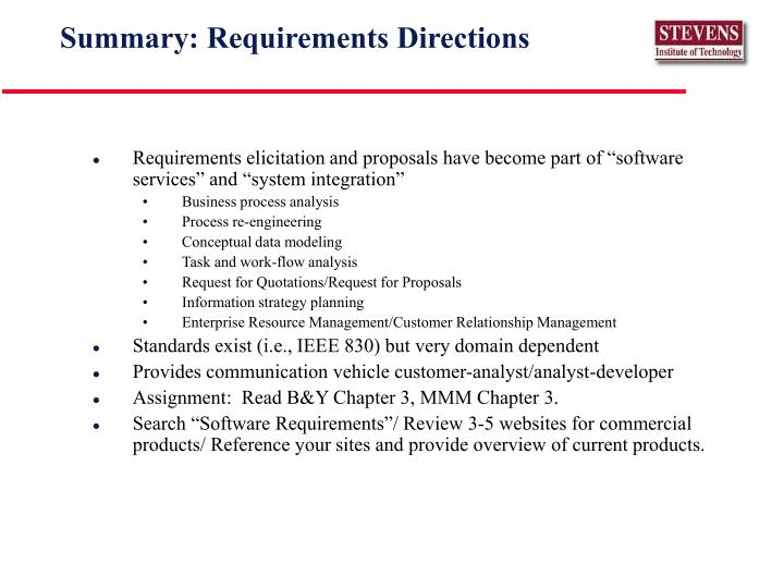 Summary: Requirements Directions
