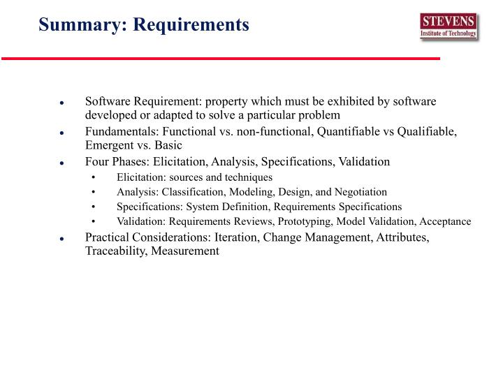 Summary: Requirements