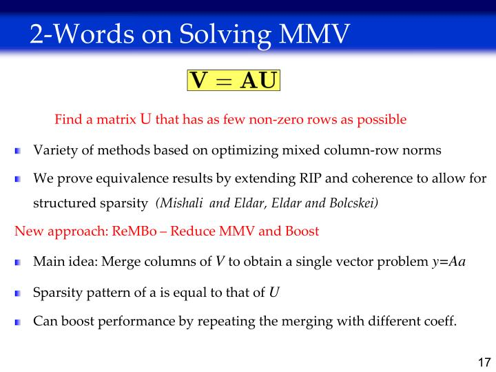 2-Words on Solving MMV