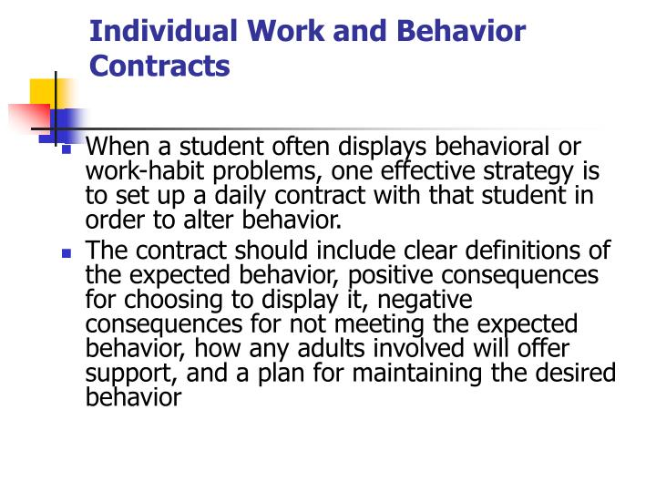 Individual Work and Behavior