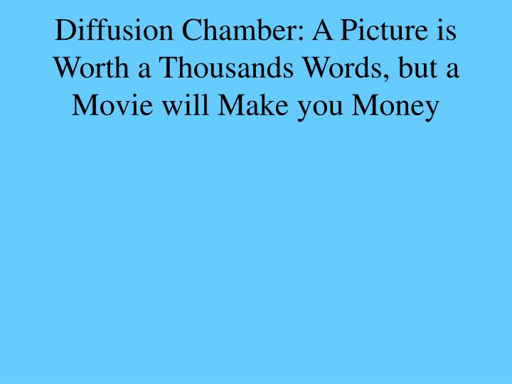 Diffusion Chamber: A Picture is Worth a Thousands Words, but a Movie will Make you Money