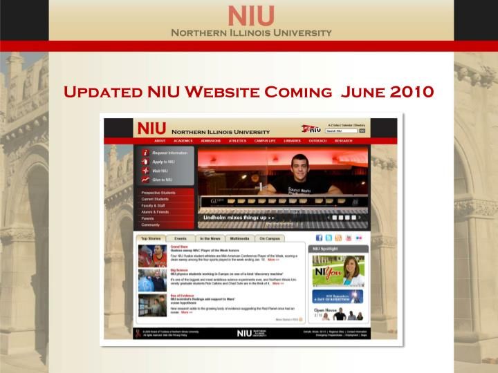 Updated NIU Website Coming  June 2010