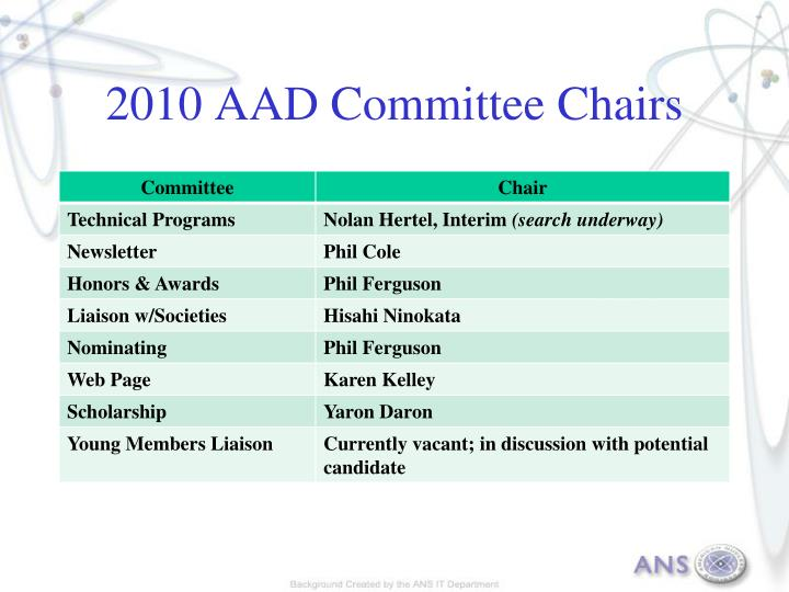 2010 AAD Committee Chairs