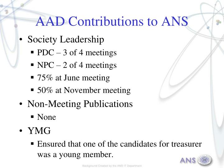 AAD Contributions to ANS
