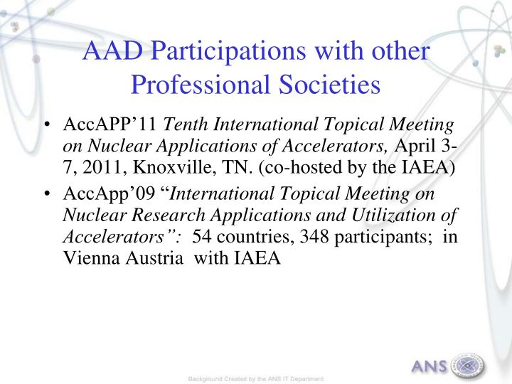 AAD Participations with other Professional Societies