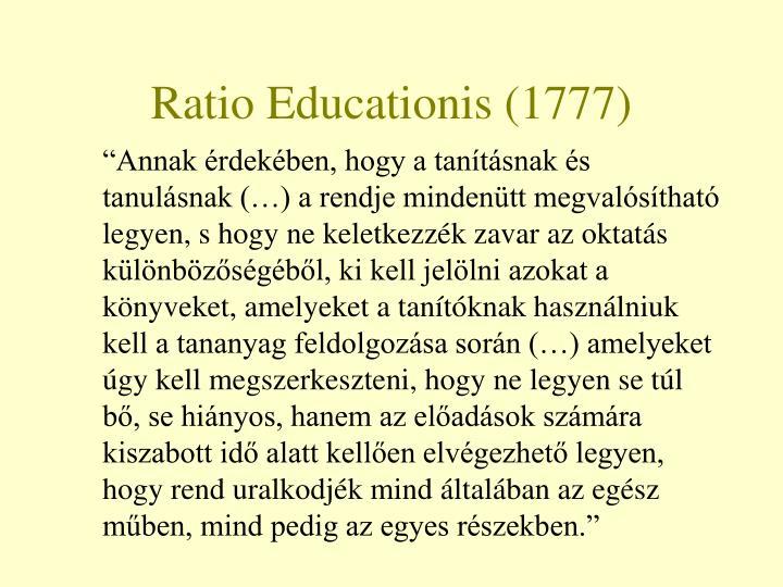 Ratio Educationis (1777)