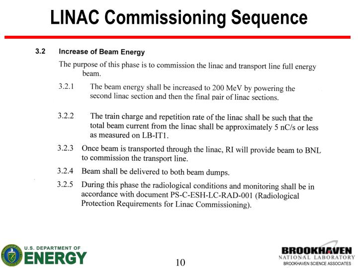 LINAC Commissioning Sequence