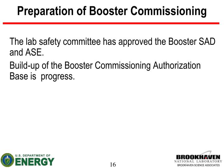 Preparation of Booster Commissioning