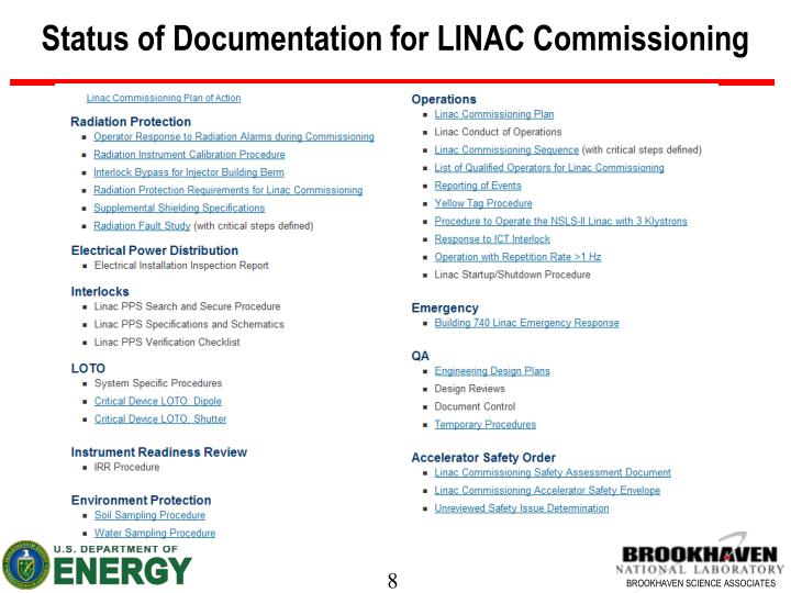 Status of Documentation for LINAC Commissioning