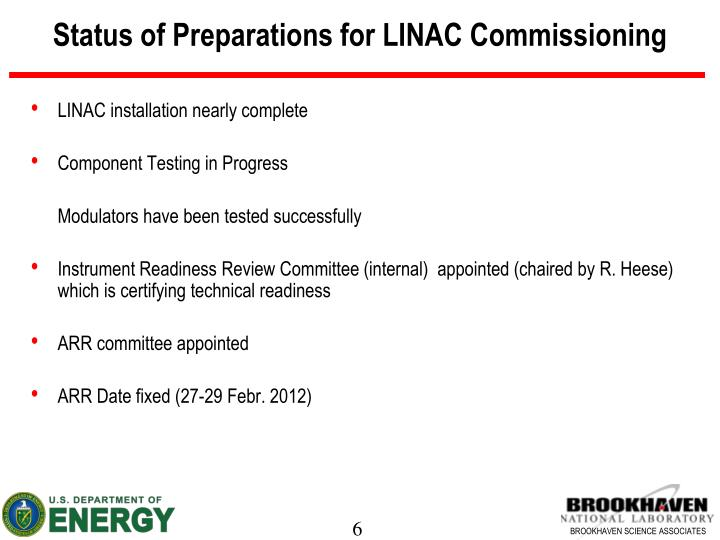 Status of Preparations for LINAC Commissioning