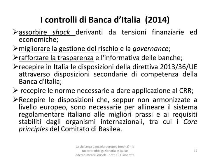 I controlli di Banca d'Italia  (2014)