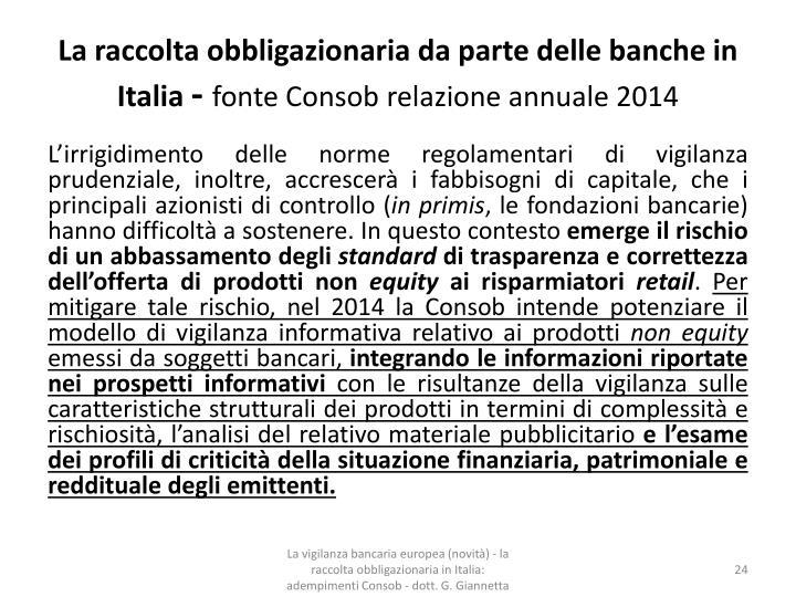 La raccolta obbligazionaria da parte delle banche in Italia