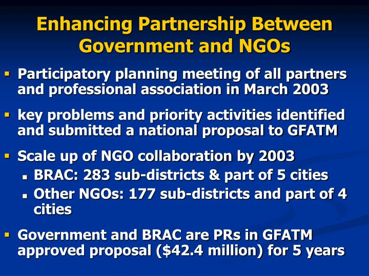 Enhancing Partnership Between Government and NGOs
