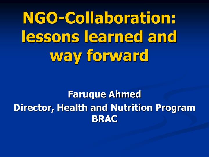 Ngo collaboration lessons learned and way forward