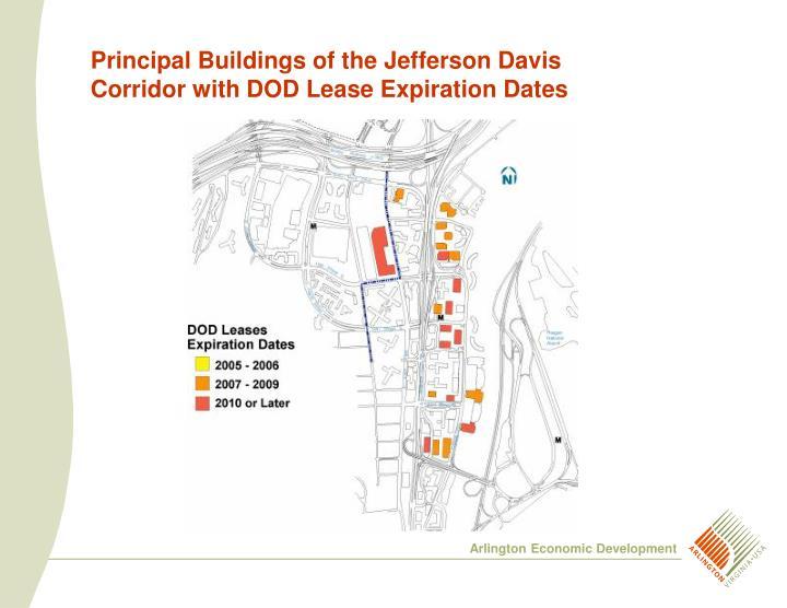 Principal Buildings of the Jefferson Davis Corridor with DOD Lease Expiration Dates
