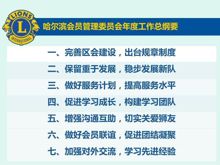 哈尔滨会员管理委员会年度工作总纲要