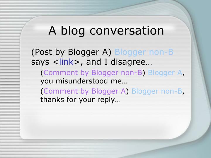 A blog conversation