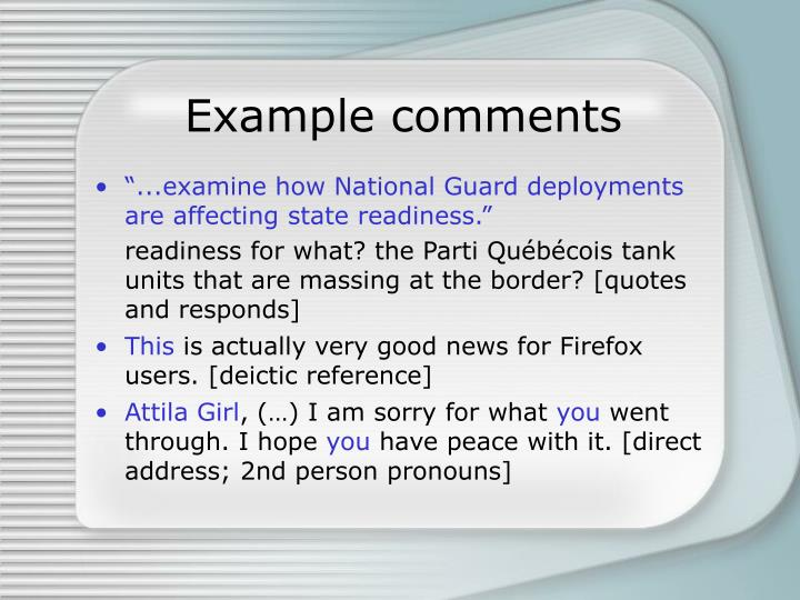 Example comments