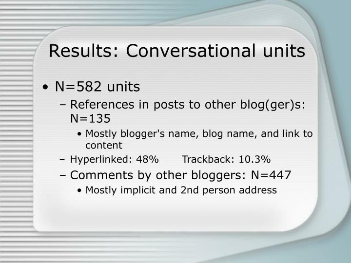 Results: Conversational units