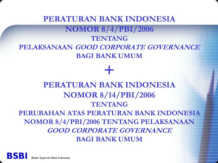 PERATURAN BANK INDONESIA