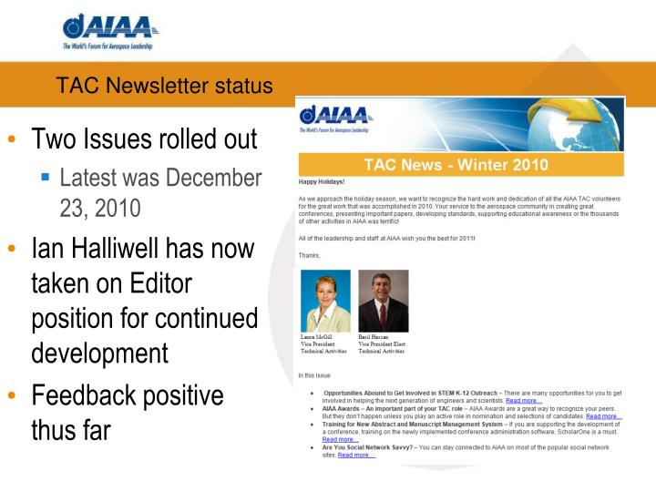 TAC Newsletter status