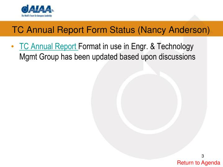 TC Annual Report Form Status (Nancy Anderson)