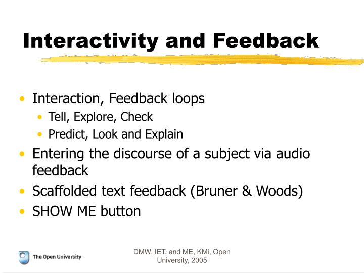 Interactivity and Feedback