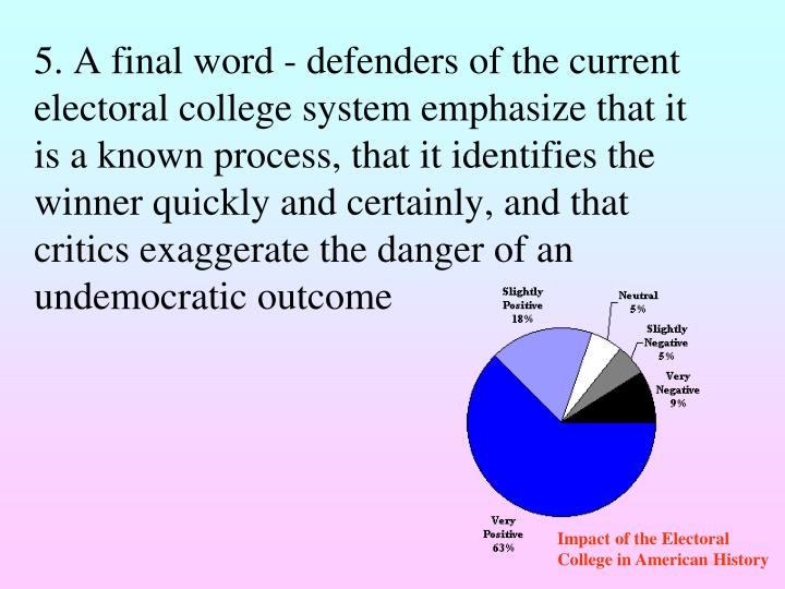 5. A final word - defenders of the current electoral college system emphasize that it is a known process, that it identifies the winner quickly and certainly, and that critics exaggerate the danger of an undemocratic outcome