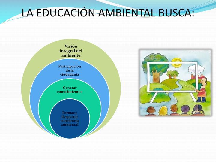 LA EDUCACIÓN AMBIENTAL BUSCA: