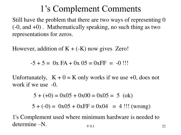 1's Complement Comments