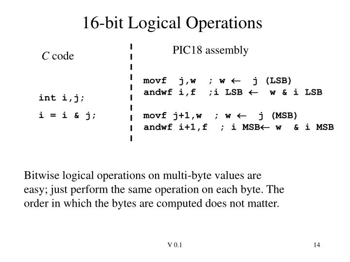 16-bit Logical Operations